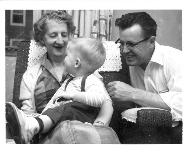 My Nanny, Alice Pierce, me and my father.